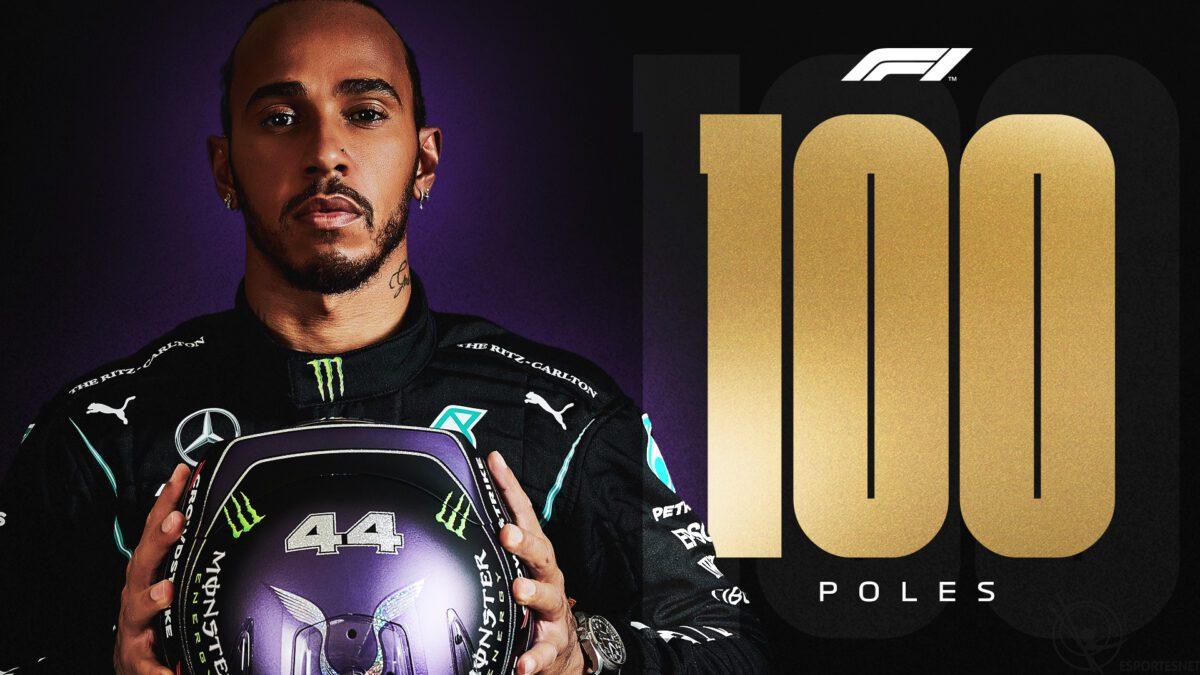Lewis Hamilton pole na Espanha 100 poles Fórmula 1 Mercedes 2021